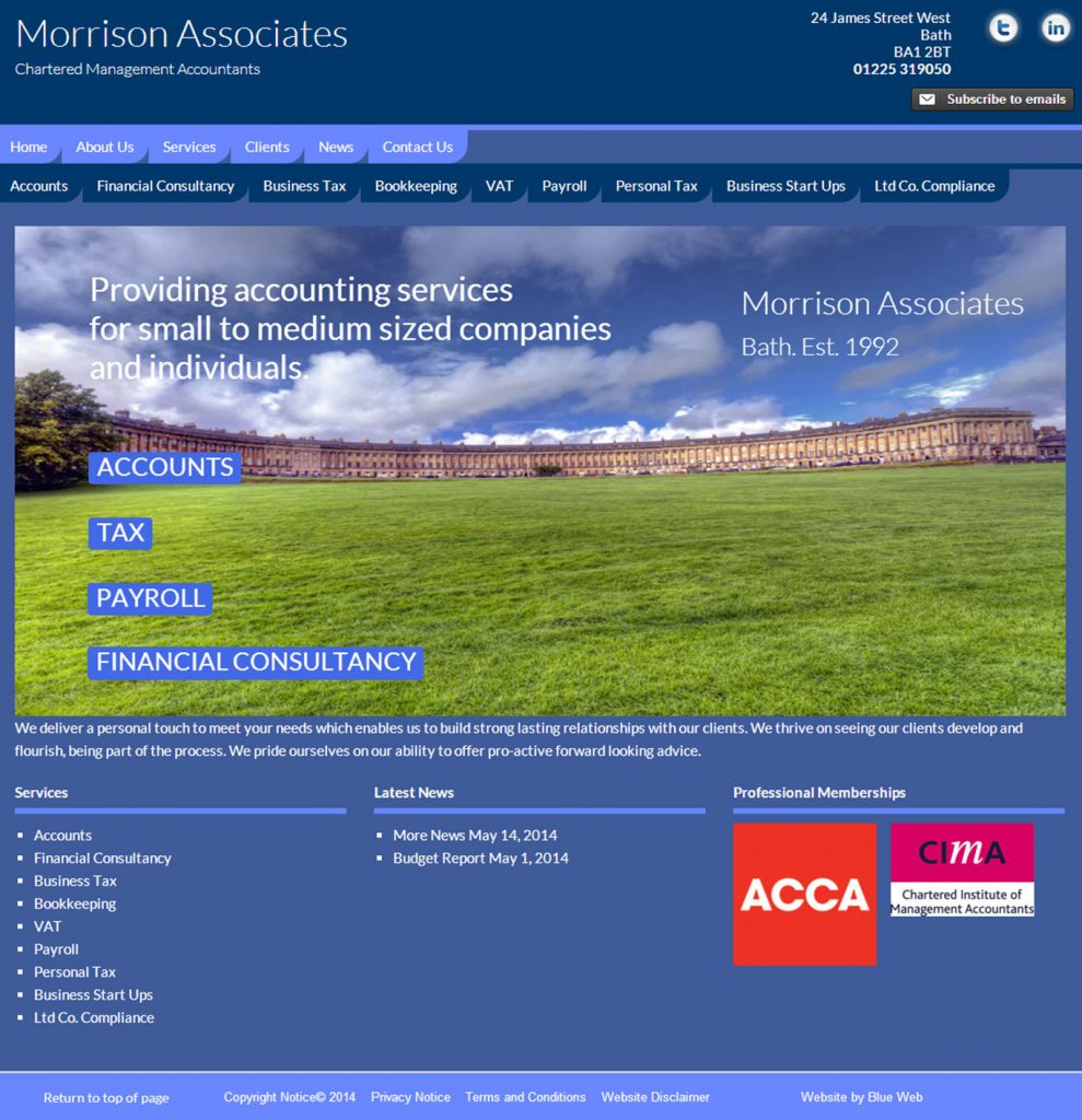 Accountancy website design Bath
