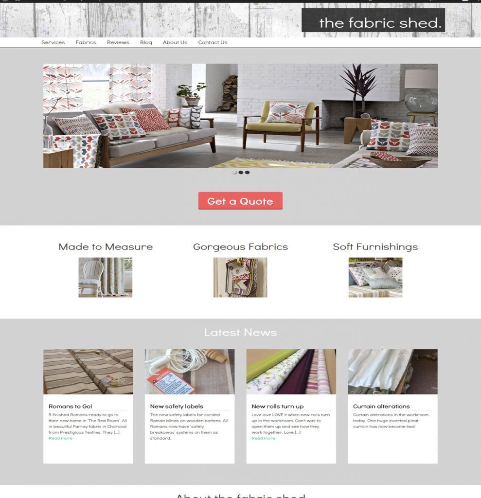 Fabric shop website design