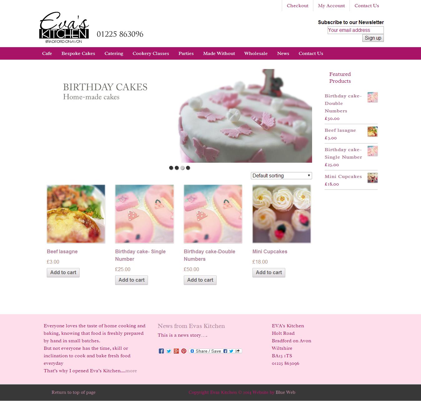 Cake shop website design