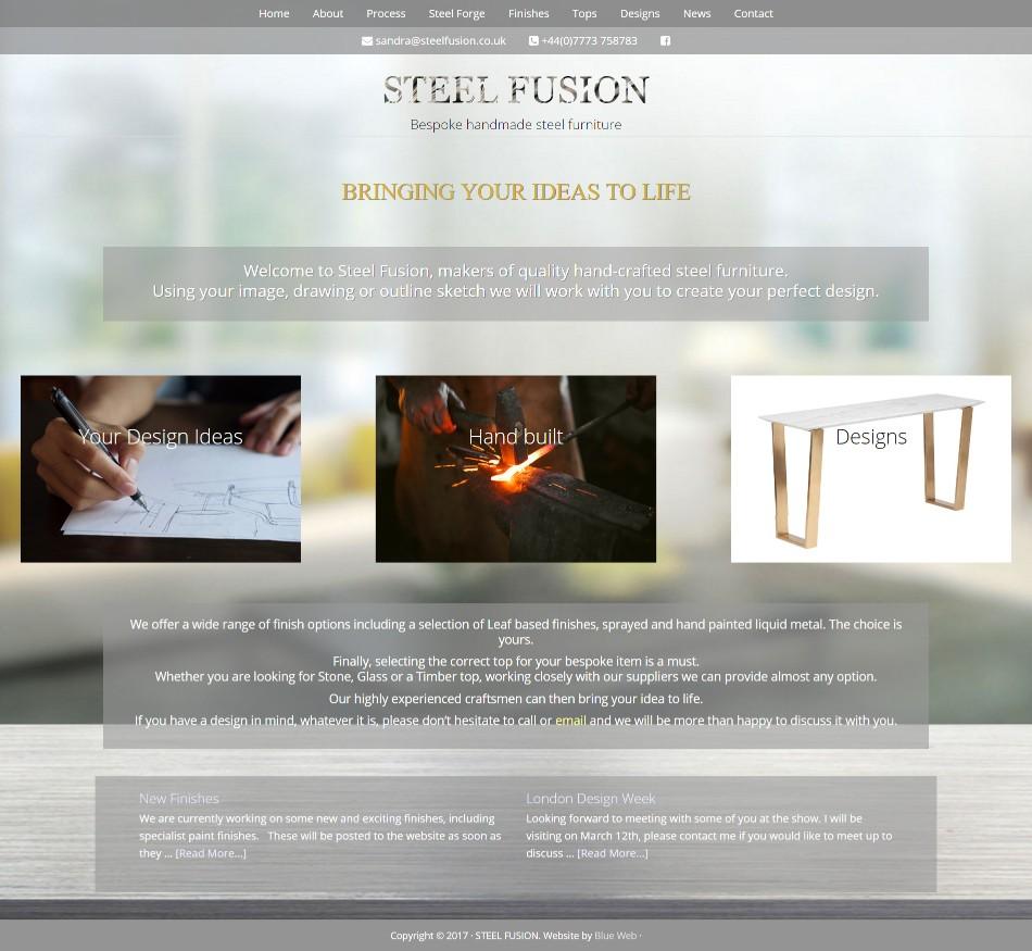 Bespoke steel furniture website design blue web for Furniture design websites