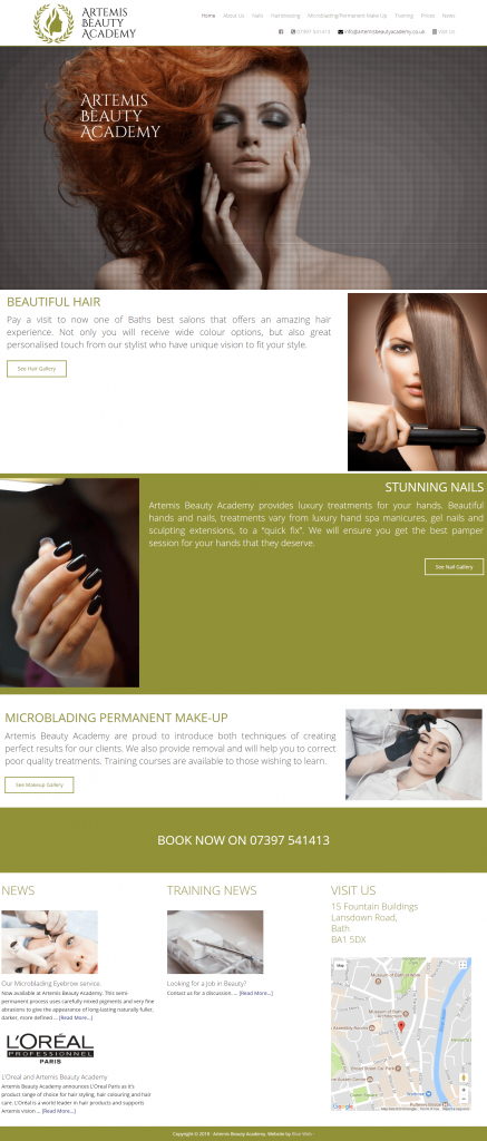 New bath beauty salon and academy website blue web for Academy beauty salon