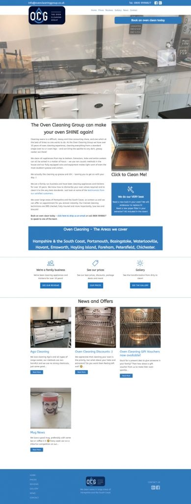 Oven cleaning website design